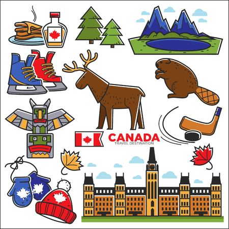 mitten: Canada touristic map with sightseeings colorful graphic poster