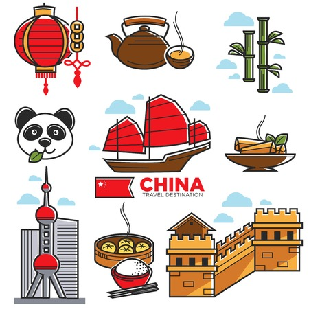 great wall of china: China travelling map with national sightseeings vector poster