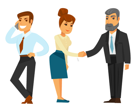 profession: Businessmen and businesswoman in formal clothes illustrations set Illustration