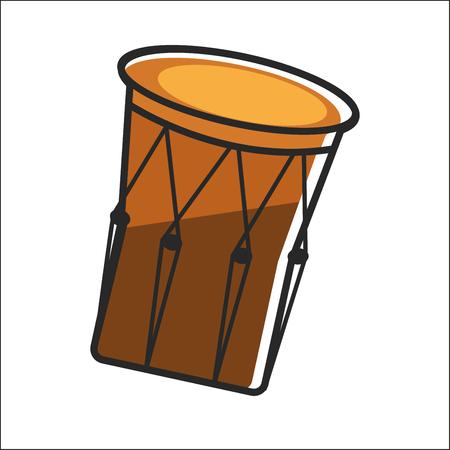 Aboriginal drum in brown color closeup graphic poster 向量圖像
