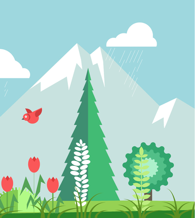 Mountains in summer time with plants graphic poster Illustration