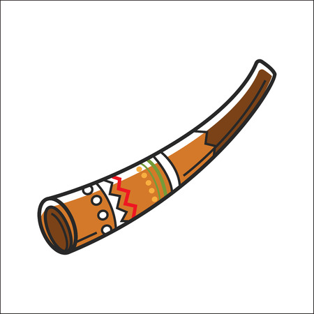 music: Didgeridoo musical instrument isolated on white vector illustration Illustration
