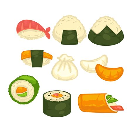 Different sushi and rolls