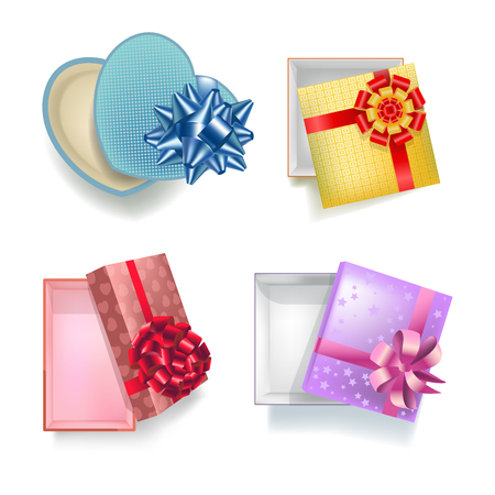 four objects: Gift boxes in square, rectangular and heart shape with open covers having ribbons and decorative bows. Vector closeup collection of four empty cardboard containers for presenting souvenirs.