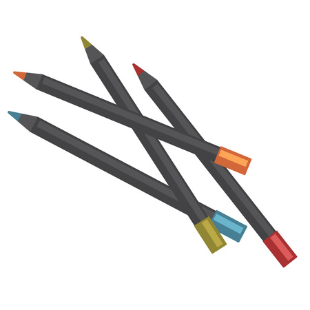 Color pencils of black wood lay in mess Illustration