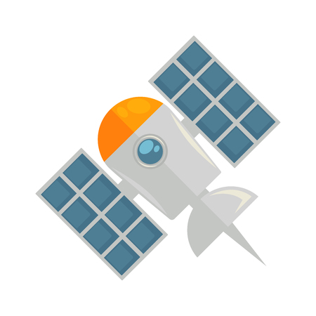 space station: Satellite in colors isolated on white graphic illustration Illustration