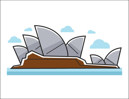 Sydney Opera House colorful illustration in graphic design