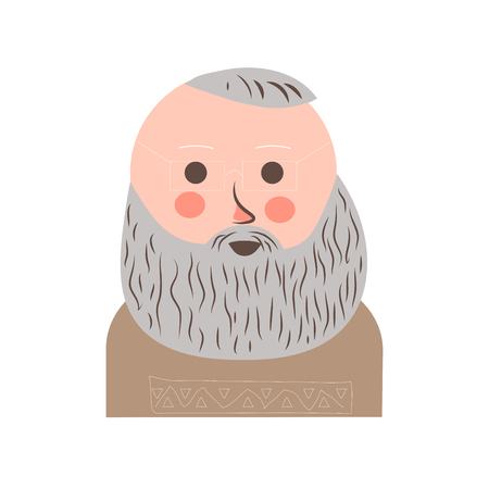 Senior man with grey hair and beard portrait Illustration