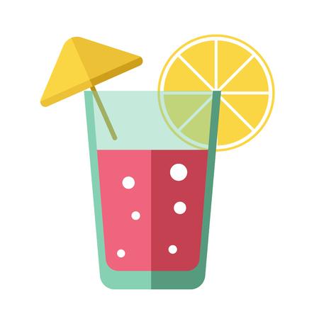 Fresh pink cocktail with lemon slice and yellow decorative umbrella