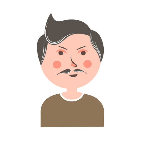 Serious man with mustache and pink cheeks portrait Illustration