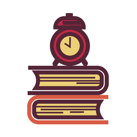 Pile of textbooks and old-fashioned mechanic alarm clock Illustration