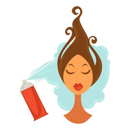 Woman applying hair spray