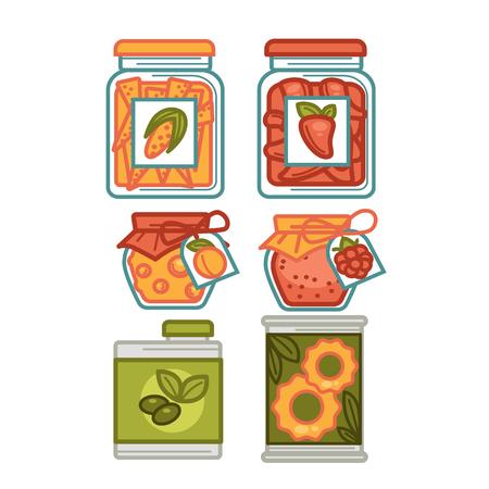 Preserves or preserved food jars bottles, jams and pickles vector icons