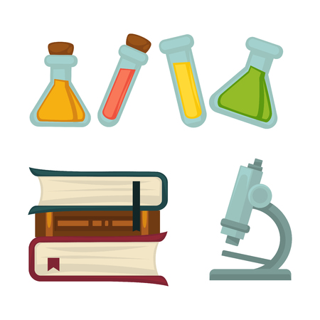 Science chemistry book or beakers and biology microscope vector flat icons set