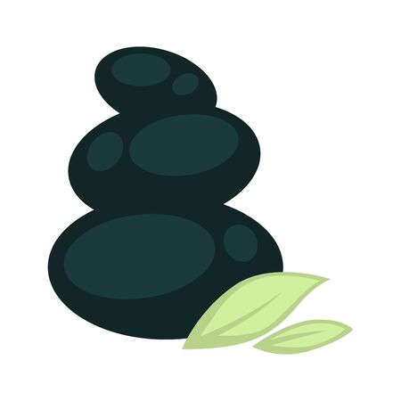 Special black stones for massage placed one on another from biggest to smallest and green leaves at bottom.