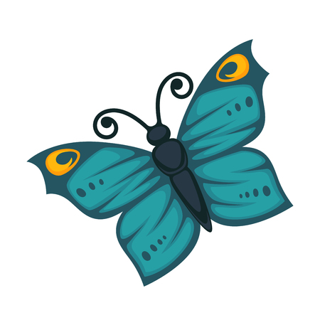 Amazing blue tropical butterfly with yellow circles on wings and curled antennae isolated cartoon flat vector illustration on white background. Exotic insect decorated with beautiful pattern.