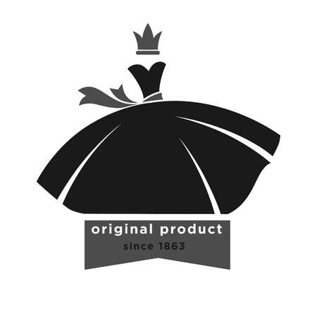 Fashion boutique with original product since 1863 monochrome promotional emblem. Black ball gown with ribbon belt and small grey crown above isolated vector illustration on white background. Illustration