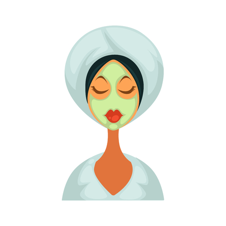 hair mask: Brunette woman in bathrobe with closed eyes, towel on her head and herbal healing mask on face isolated cartoon vector illustration on white background. Cosmetic procedure for womens skin beauty. Illustration