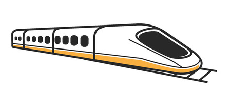 Japanese modern high-speed train with toned windows and first car of streamlined shape isolated vector illustration 일러스트