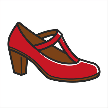 Woman shoe on heel in red color isolated on white