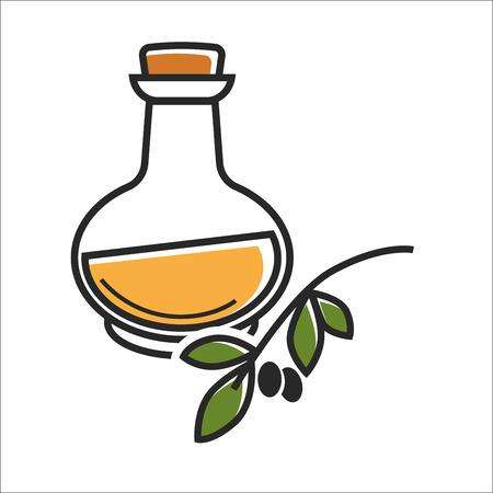 mediterranean diet: Glass bottle of virgin olive oil near brunch on white Illustration