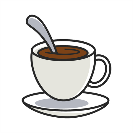arabica: Cup of coffee on saucer and with spoon inside