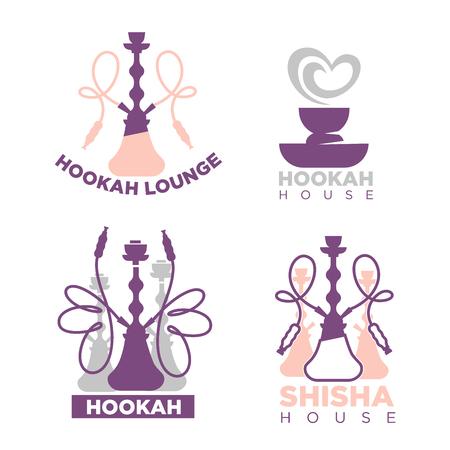 Hookah house or shisha lounge bar vector icons set Illustration