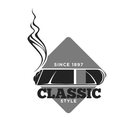 Classic style cigars since 1897 isolated monochrome emblem Illustration