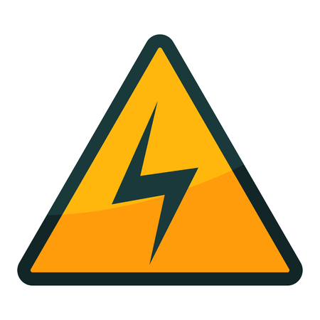 High voltage warning sign in triangular isolated on white Illustration
