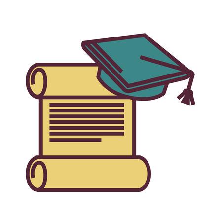 Símbolos de graduación, pergamino viejo y casquillo académico cuadrado Ilustración de vector
