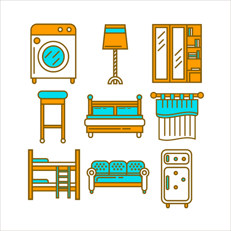 boiler: Home room furniture interior accessories and appliances vector icons set