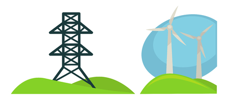 Metal tower for wires and wind generations on green field Illustration