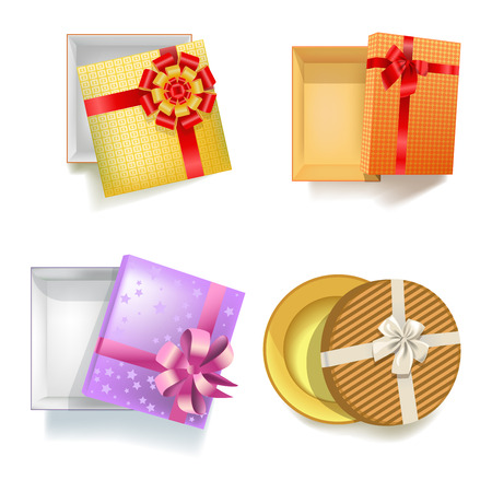 Gift box with ribbon bow vector 3d icons set Illustration