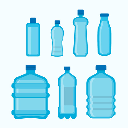 Plastic bottles shapes vector isolated flat icons set Illustration
