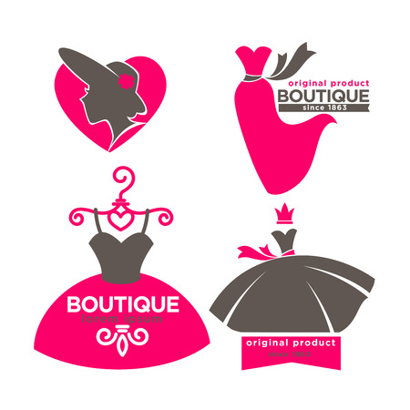Dress boutique or fashion atelier salon vector icons templates set
