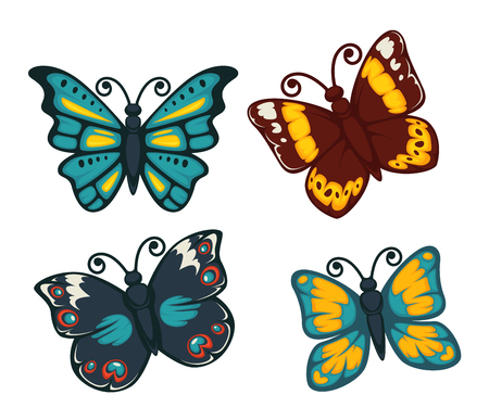 flit: Butterflies colorful flat vector isolated icons set