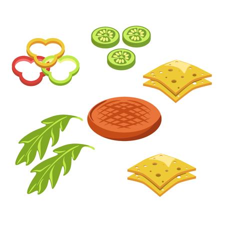 Hamburger hamburger lub cheeseburger fast food składniki konstruktor fastfood wektor ikona Ilustracje wektorowe