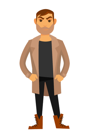 Man fashion model wearing style clothes vector flat isolated icon