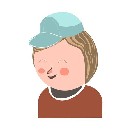 modern: Cheerful laughing boy with closed eyes and blush on face wearing azure cap and brown sweater isolated on white vector colorful poster in graphic design. Young male person in good mood template