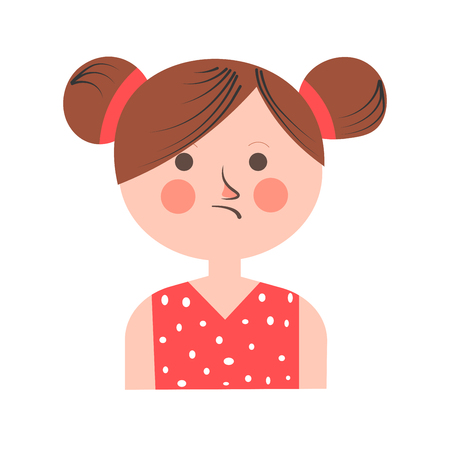 Teenager girl portrait in bad mood with plaid hair isolated on white. Vector colorful illustration. Illustration