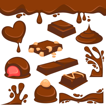 damaged: Chocolate dessert and candy vector icons