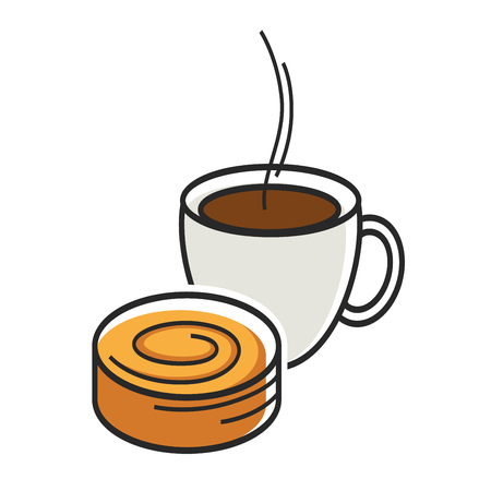 Cup of coffe with steam and sweet tasty bun Illustration