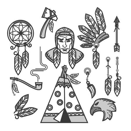 tomahawk: Native American Indians traditional culture or life household items. Tribal Wigwam dwelling, tomahawk weapon work tool and national clothes of indigenous Apache, Cherokee or Navajo. Vector icons set