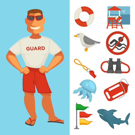 Lifeguard sea guard or water rescue watch icons. Vector flat set of beach emergency rescuer man with binoculars, life buoy, warning sign or whistle and tide flags, jellyfish and seagull Illustration