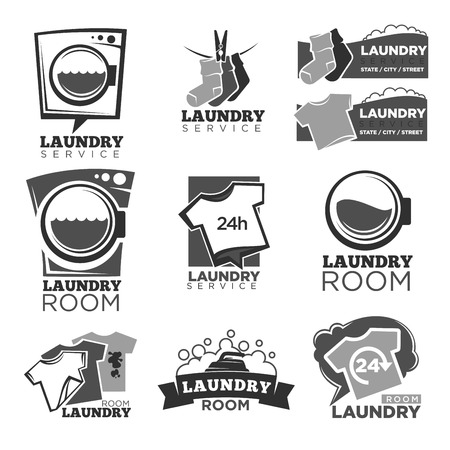 Laundry Service Or Laundromat Logo Templates Set Vector Labels Royalty Free Cliparts Vectors And Stock Illustration Image 81799113