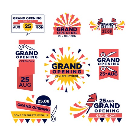 grand sale sticker: Grand opening icons of red band ribbon and scissors cut for open festival or shopping event. Vector set of flags, stars or festive confetti and fireworks for 25 August