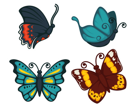 A Butterflies icons for decoration. Vector cartoon isolated exotic species set of swallowtail, tropical monarch and hawk-moth, machaon or luna butterfly with fluttering wings Illustration