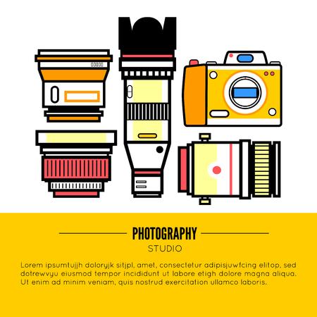 photo album: Photographer or photostudio concept design illustration. Illustration