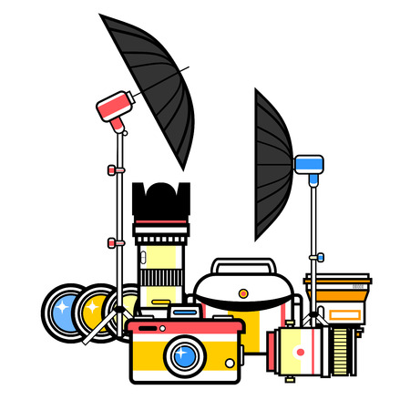 A Photographer equipment kit set, camera elements vector background Illustration