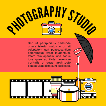 photography equipment: A Photographer or photo studio concept design illustration. Workspace with camera, umbrella, film, lens, photo, tripod. Flat design vector
